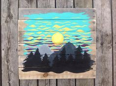 This peaceful , soft ,sunset behind mountains and trees ,was painted with the Canadian Rocky Mountains in mind . A rustic , reclaimed wood,is a perfect pallet to offset the rugged western landscape. I built and sanded the pallet from reclaimed wood, with eyelets and wire,for easy hanging.I used acrylic paint . Size 21.5x 22.5 Free Shipping! Welcome to Lizzos Art! All of my paintings are original, one of a kind, signed pieces. They are hand painted with acrylic paint. I use a bright, contr...