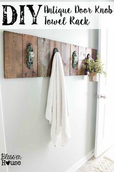 DIY Antique Door Knob Towel Rack- Bless'er House Make your own DIY Antique Door Knob Towel Rack in a few simple steps for a little added charm in a bathroom. #diytowelrack #bathroom