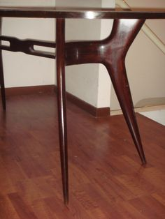 Rosewood Table and grey glass on the top 1940 /50