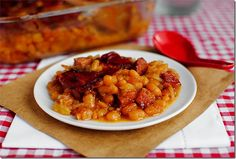 Iowa Girl calls these baked beans, but with the addition of kielbasa and bacon, I call them a main dish.