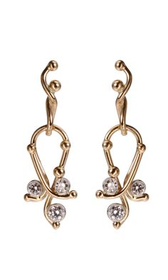 Dean Harris Gold Small Paisley Earrings with Diamonds