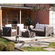 Salon de jardin bas OSAKA - 2 fauteuils + 1 canapé + 1 table basse ...