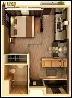Floor plan of a small contemporary apartment.