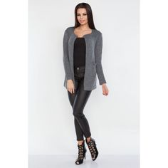 Cardigan scurt de dama de culoare gri inchis Cardigan, Casual, Sweaters, Fashion, Tricot, Moda, Fashion Styles, Sweater, Fashion Illustrations