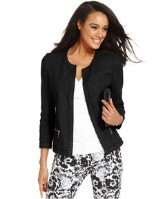 Alfani Jacket, Three-Quarter-Sleeve Collarless Blazer $44.99 - I have this one from Clothes Mentor!!