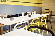 BILLSTA white tables and REIDAR chairs in white, yellow and black
