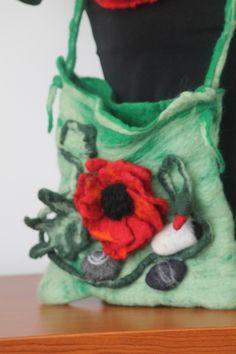 felted handbag /poppy  and stones / flower handbag / Felted handbag /felted poppy / by RozalkaFeltAndWool on Etsy