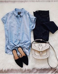 fd4fd353711 Short sleeve chambray button down. Like the pointy toe slides but not sure  if they are comfortable
