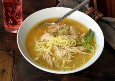 """Low carb and gluten free chicken """"noodle"""" soup! Served with strawberry iced tea!"""