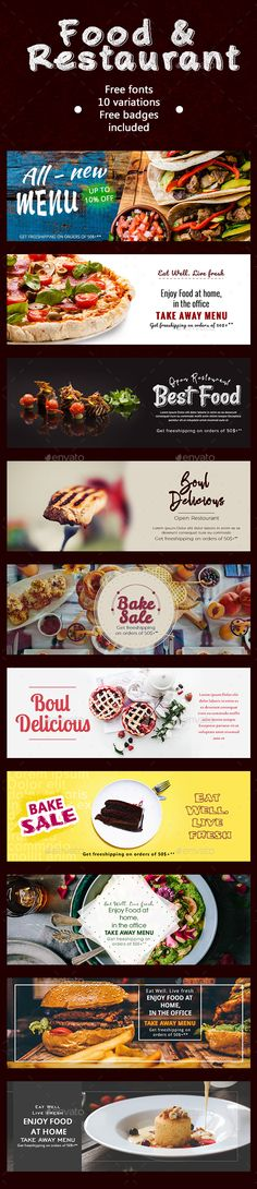 Food & Restaurant Banners - #Banners & Ads #Web Elements Download here:  https://graphicriver.net/item/food-restaurant-banners/20194062?ref=alena994