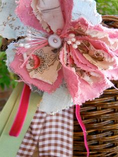 fabric junque flower - make as curtain tie back for shabby chic