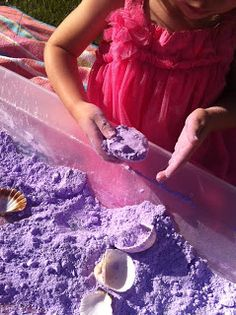 "(Ages 2-4) ""Fluffy Stuff Sensory Play"" cornstarch + shaving cream + coloring"