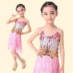 135db414b5fb Fringe Sequins Tassel Latin dance dress for girls kids Performance Stage  Latin Salsa costume children Ballroom dresses
