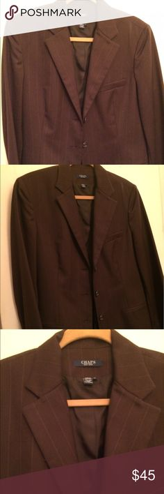 NWT Woman's Chaps Wool Blazer Size 14 New Woman's Chaps 100% Wool Suit Jacket Size 14. The Jacket is dark brown with a light pinstripe. Beautiful Jacket. Chaps Jackets & Coats Blazers