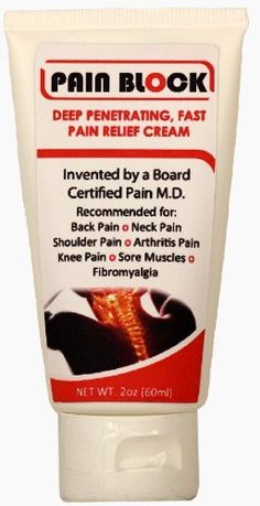 Pain Block - Pain Relief Rub Cream 2 oz for Back, Joint, Knee, Shoulder, Rheumatoid Arthritis, Muscle, Neck, Fibromyalgia, Carpal Tunnel, Gout, Tendonitis, Plantar Fasciitis, Running Pain, Ganglion Cysts | Speeds Healing | 100% Guaranteed to Relieve Pain by Pain Block, http://www.amazon.com/dp/B00DQCAET6/ref=cm_sw_r_pi_dp_BUb3rb0GE9PX8