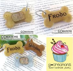 LOTR Dog ID Tag Bone  Map of Middle Earth by GabriellesCreations
