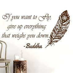 Bloomsbury Market Downey Quotes Feather Buddha Wall Decal Color: Brown