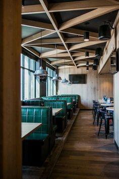 Do's & Don'ts of False Ceiling Design - False Ceiling Ideas - Decoration Restaurant, Restaurant Interior Design, Commercial Interior Design, Commercial Interiors, Pub Decor, Design Hotel, Bar Design, Cafe Bar, Banquette Restaurant