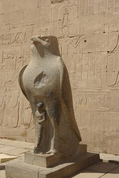 The statue of Horus, the Egyptian Falcon God, at the Edfu Temple in Aswan.