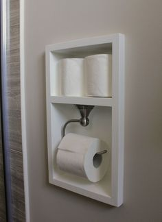 Between the studs, create a recessed area for your toilet paper with this bathroom remodel tutorial. More Remodeled Bathroom Ideas & Inspiring Makeovers on a Budget on Frugal Coupon Living. Source by fclash The post Remodeled Bathroom Ideas Bad Inspiration, Bathroom Inspiration, Bathroom Renos, Bathroom Renovations, Bathroom Furniture, Remodel Bathroom, Bathroom Cabinets, Bathroom Bin, Bathroom Vanities