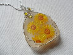 "Sunflowers necklace hand painted sea glass with Swarovski crystal detail - 18"" sterling silver plated chain by ShePaintsSeaglass on Etsy"