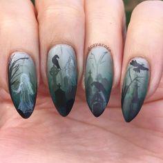Haunted ghost graveyard halloween nails nail art