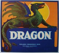 DRAGON Vintage Redlands Orange Crate Label