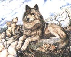 wolf and cubs tattoo | Pin Wolf Pups Tattoos on Pinterest