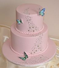 Pale Pink with Blue Accent Butterflies Cake