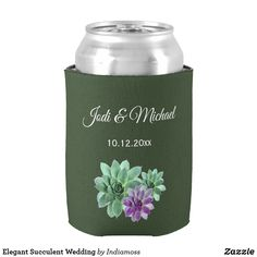 Shop Green and Purple Botanical Succulent Wedding Can Cooler created by Indiamoss. Elegant Wedding, Floral Wedding, Perfect Wedding, Diy Wedding, Floral Centerpieces, Wedding Centerpieces, Purple And Green Wedding, Wedding Koozies, Hand Warmers