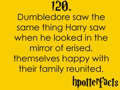 Harry Potter Facts #120:  Dumbledore saw the same thing Harry saw when he looked in the Mirror of Erised - themselves happy with their family reunited.