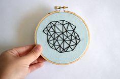 Geometric Mini Embroidery Hoop Art  4 inch Wall by BreezebotPunch