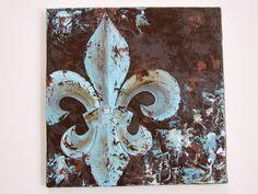 Fleur de Lis Oil canvas painting by DoodlesinBloom on Etsy Oil Canvas, Original Art, Original Paintings, Louisiana Art, Stencils, Owl, Canvas Artwork, Art Techniques, Diy Art
