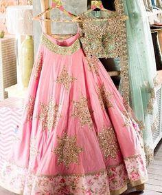 Pink Lehenga by Anushree Reddy Indian Bridal Wear, Indian Wedding Outfits, Indian Wear, Indian Outfits, Red Lehenga, Bridal Lehenga, Lehenga Choli, Anarkali, Floral Lehenga