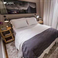 Inspire-se nessa decoração para quarto de casal pequeno. Mesmo sem muito espaço é possível criar um ambiente lindo e cômodo.