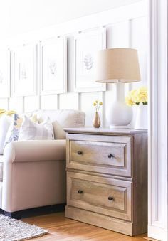 Summer Living Room in Yellow and Gray - It All Started With Paint Yellow Pillow Covers, Yellow Pillows, Grey Pillows, Yellow Fabric, Yellow Theme, Led Diy, Room Tour, Dresser As Nightstand, Home Decor Inspiration