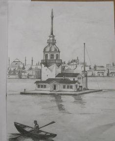 Kız kulesi Karakalem Çizimleri