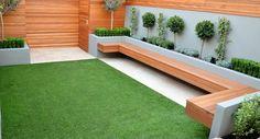 jardin contemporain avec des bans en bois