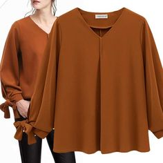 Loose Long-sleeved Cuff Bow Chiffon Shirt Cute Office Outfits, Classy Outfits, Casual Outfits, Blouse Styles, Blouse Designs, Chiffon Shirt, Chiffon Tops, Hijab Fashion, Fashion Dresses
