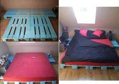 Pallet futon frame, spray painted a pretty color Pallet Futon, Wooden Pallet Beds, Pallet Furniture, Wood Pallets, Futon Frame, Bed Frame, Cama Tatami, Diy Bett, Diy Casa