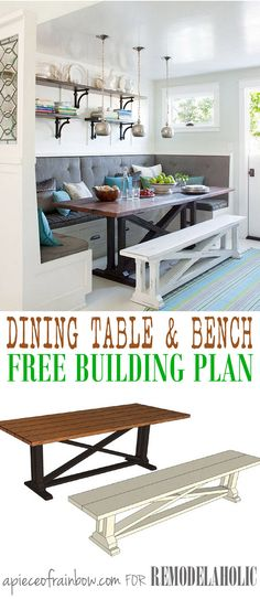 Build a beautiful rustic X dining table and matching bench like this one featured in BHG Easier than it looks and so beautiful Free building plans by A Piece of Rainbow o. Narrow Dining Tables, Dining Table With Bench, Kitchen Benches, Small Dining, Dining Room Table, Dining Rooms, Farmhouse Dining Benches, Space Saving Dining Table, Diy Table