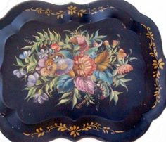 Antique Hand Painted Toleware Chippendale Floral Tray