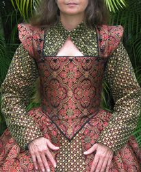 SCA Renaissance Gown, note to self, be more brave with color, pattern combinations Renaissance Costume, Medieval Costume, Renaissance Clothing, Medieval Fashion, Medieval Dress, Historical Costume, Historical Clothing, Elizabethan Clothing, New Frock