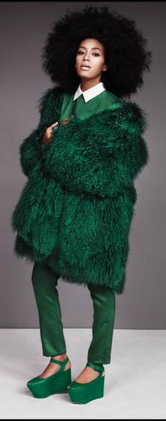 S O L O - Solange Styled By Charlie Brianna.   Cool, now I want an all green outfit.