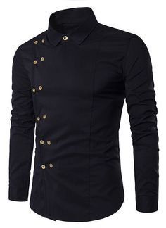 Dresslily.com Turndown Collar Long Sleeve Double Breasted Shirt