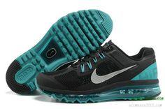 2013 Nike Air Maxes Mens Black Tiffany Blue Metallic Silver For Sale 554886 003