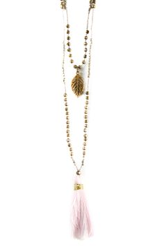 Ruby Yaya Pink & Gold Necklace Pink And Gold, Tassel Necklace, Clothing, Jewelry, Outfit, Jewellery Making, Clothes, Jewels, Jewlery