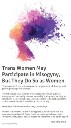 From the articleStill Think Trans Women Have Male Privilege? These 7 Points Prove They Don't, by Kai Cheng Thom.Illustration by rvika.For transgender news, follow Trans Express.