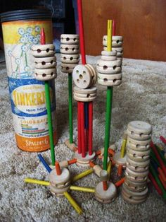 Tinkertoys - this is an older set than what I had as a kid, but similar.  I loved these toys!