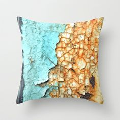 Two Faced Throw Pillow #photography #rust #rusty #teal #aqua #mint #turquoise #rusted #old #weathered #metal #paint #peel #pattern #shape #texture #two #ugly #dirty #vintage #steel #richcaspian #rich #caspian #pillow #pillows #cover #case #throw #decor #decorative #home #bedding #sofa #bedroom #living #comfort #throwpillow #pillowcase #pillowcover #throwpillows #pillowcases #pillowcovers